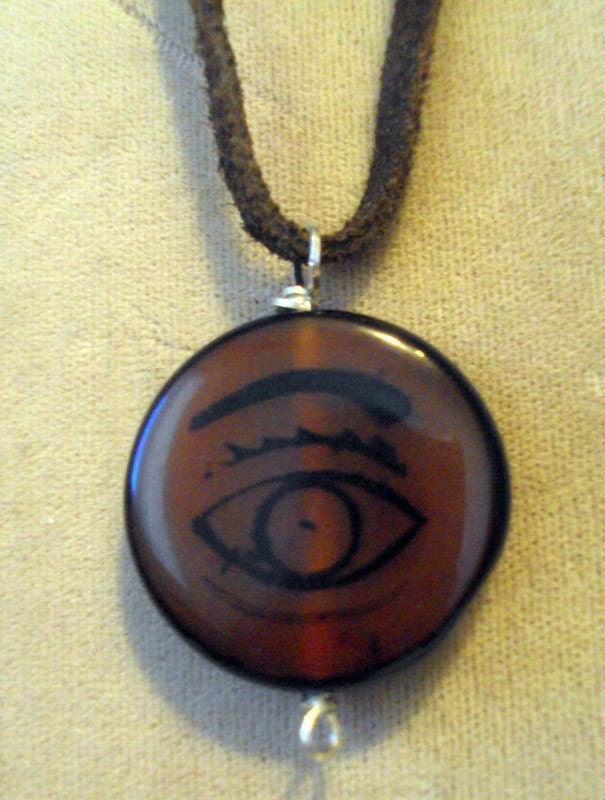 The Eye  Necklace Carnelian Eyebead on SS and Leather