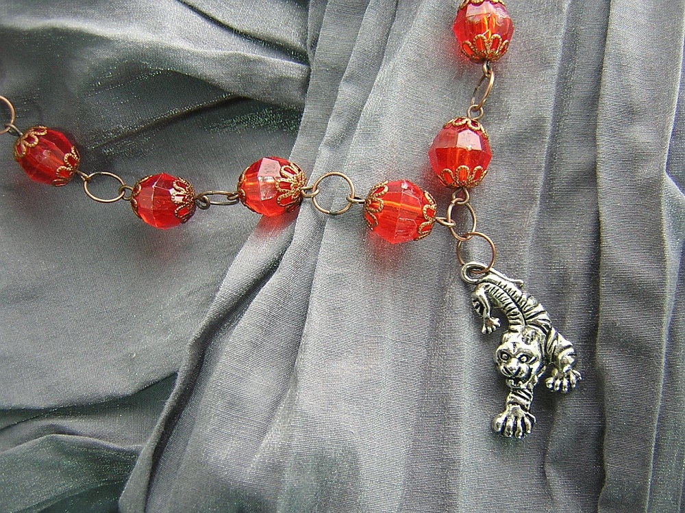 Orange and Copper I've Got a Tiger By the Tail Necklace