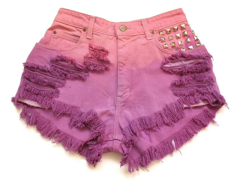High waist dip dyed jean shorts XS