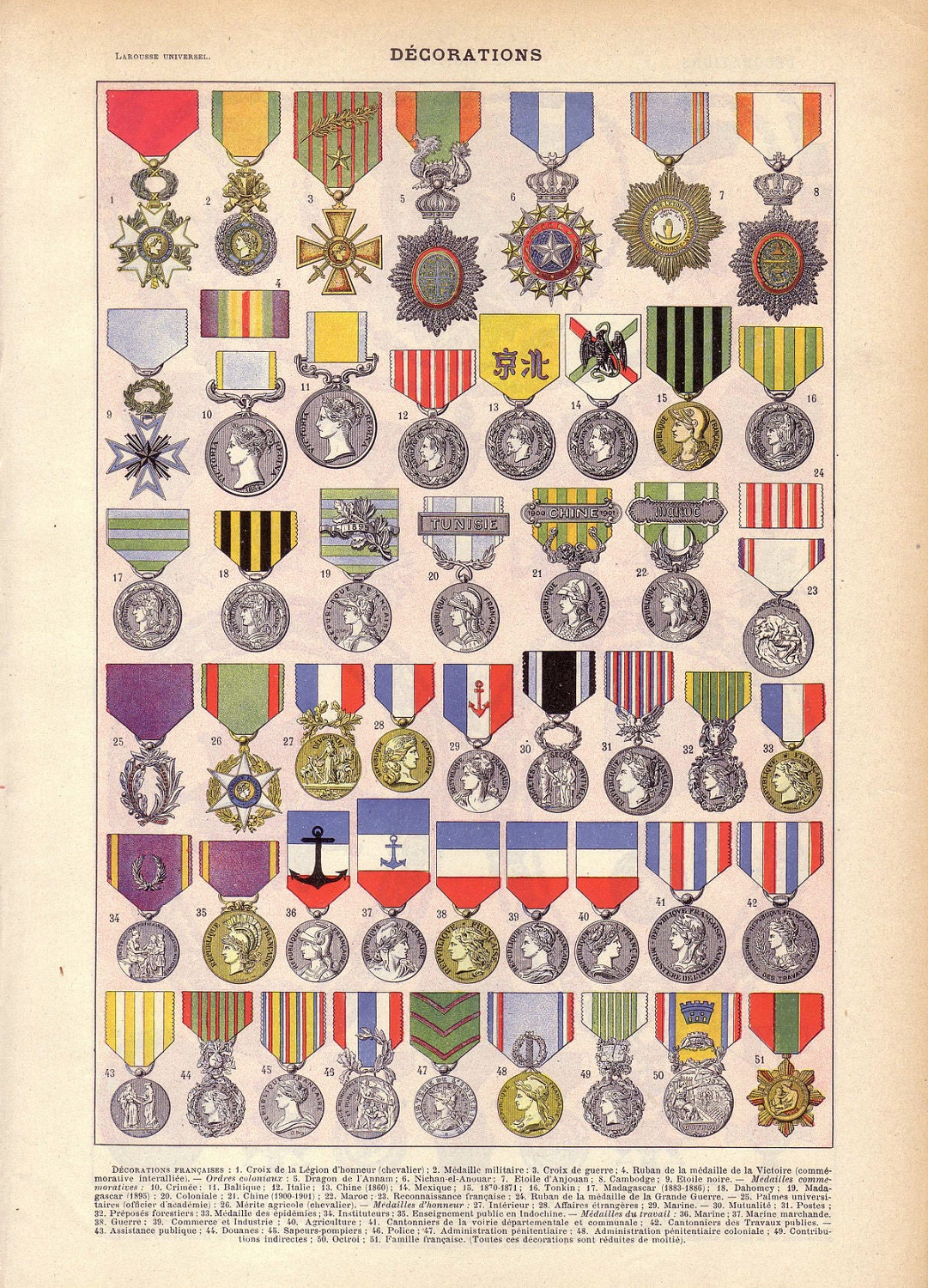 1922 vintage french military medals french by sushipotvintage for Army awards and decoration
