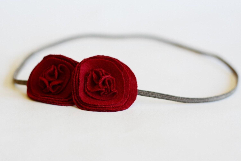 sadie . red (fabric flower headband)