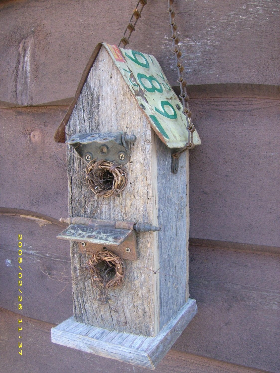 Barn wood bird house with license plate roof by - Old barn wood bird houses ...