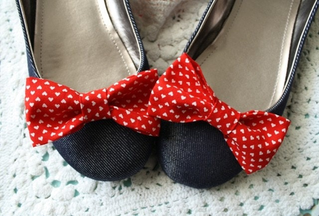 Miss Charlotte - Cute Heart Print Bow Shoe Clips