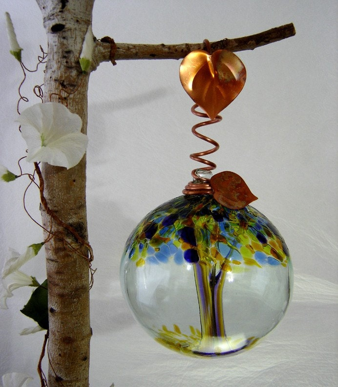 Art Glass  Tree of Joy 10 inch Ball with Copper Vine Hook