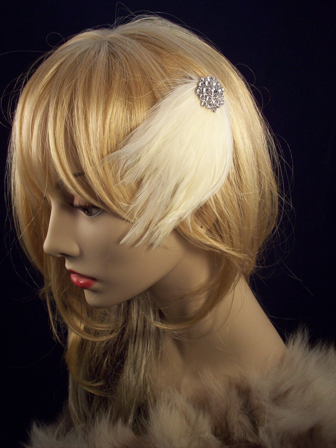 Cream swag fascinator with diamond clusters