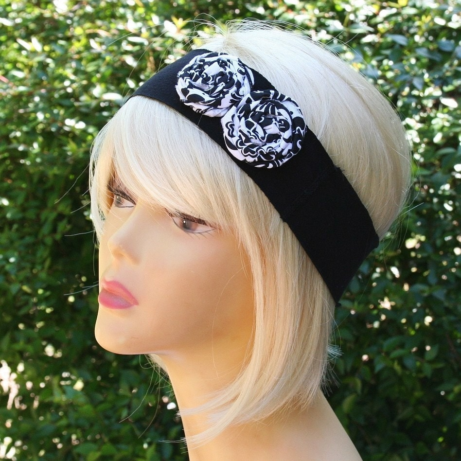 Black and White fabric Flower Stretch Headband by fanciestrands from etsy.com