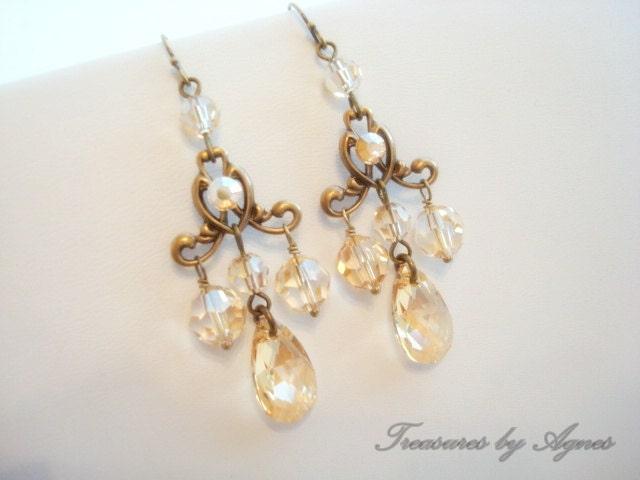 Wedding earrings, bridal earrings, chandelier earrings, vintage style earrings, wedding jewelry, antique brass, Swarovski golden shadow
