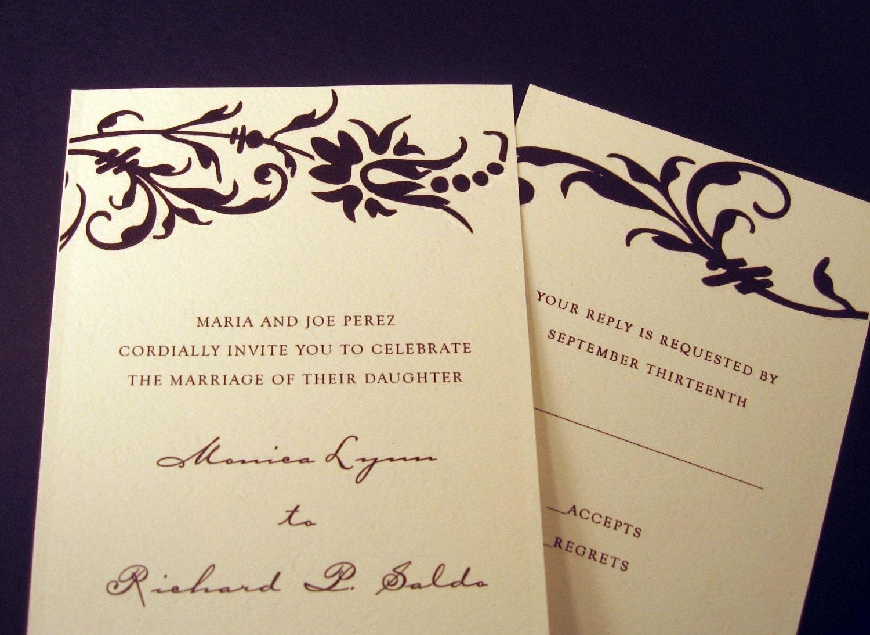 Antique Florals in Black Custom  Wedding Invitation Sample Set
