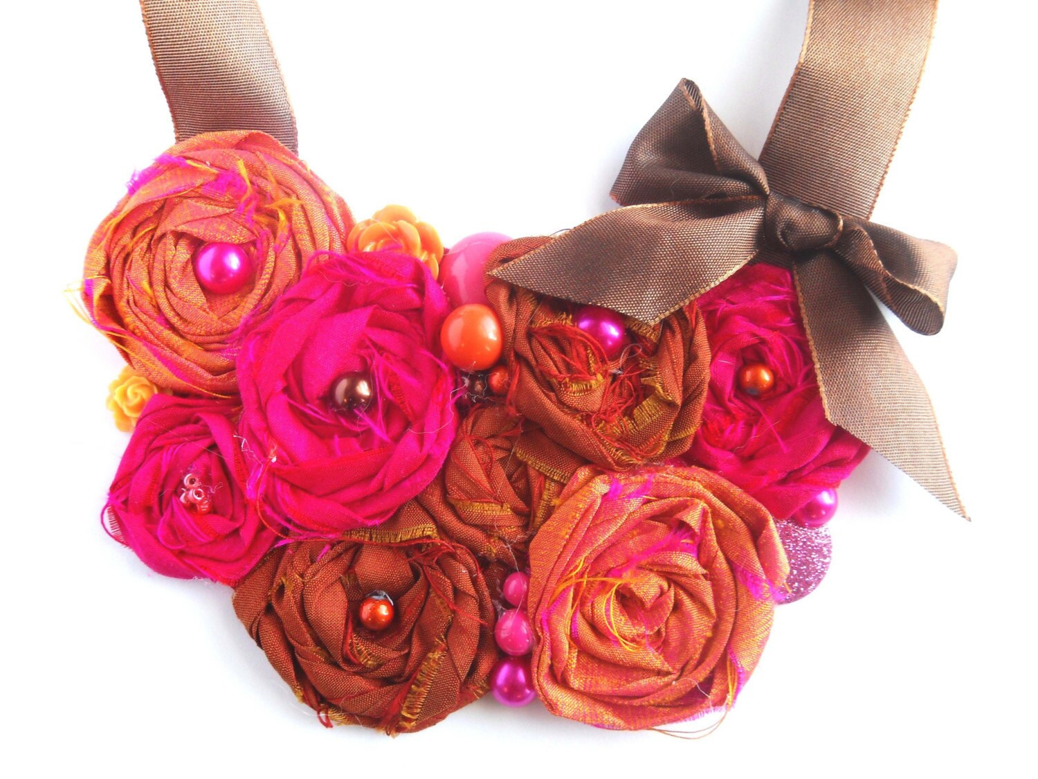 Pink and Brown Statement Necklace
