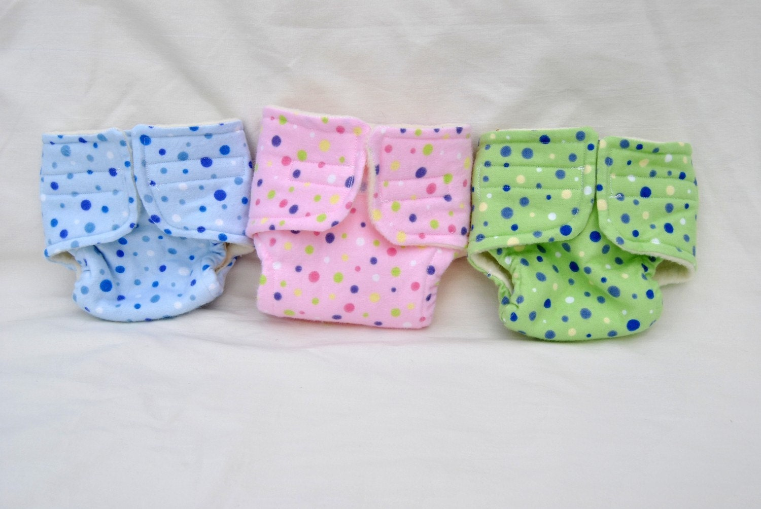The Dot Collection - Flannel and Fleece Baby Doll Cloth Diapers - Set of three diapers