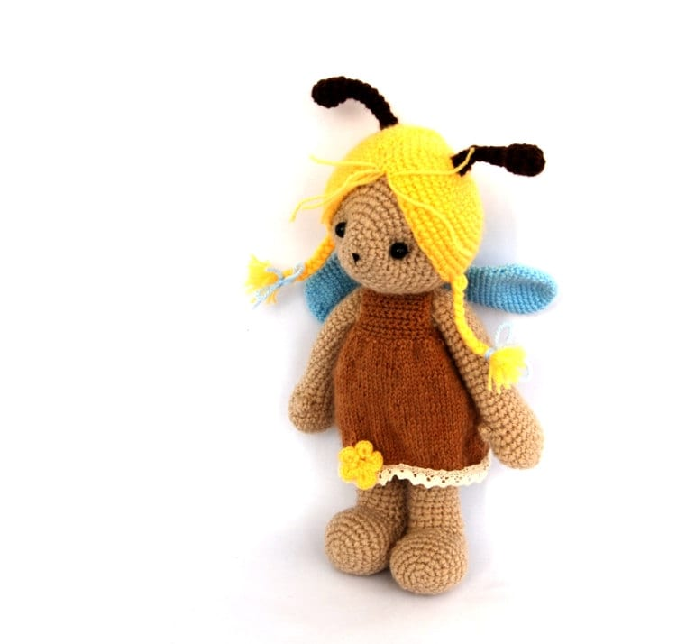 honey bee doll stuffed animal doll crocheted bee amigurumi doll brown yellow spring toy for kids garden gardening nature insect softie cute - crochAndi