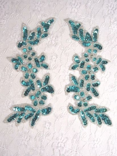 0279 turquoise mirror pair sequin beaded appliques by