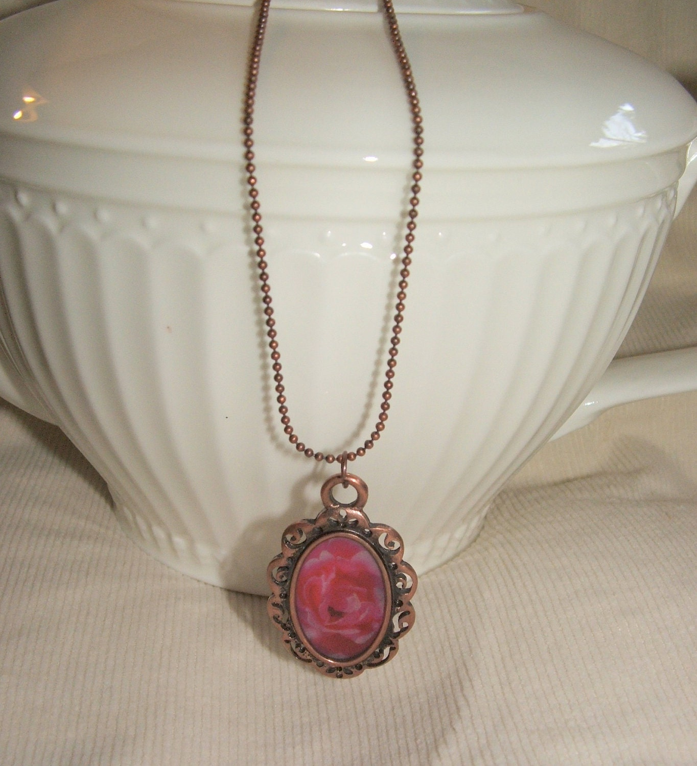 Rose Photo Necklace Garden Gems