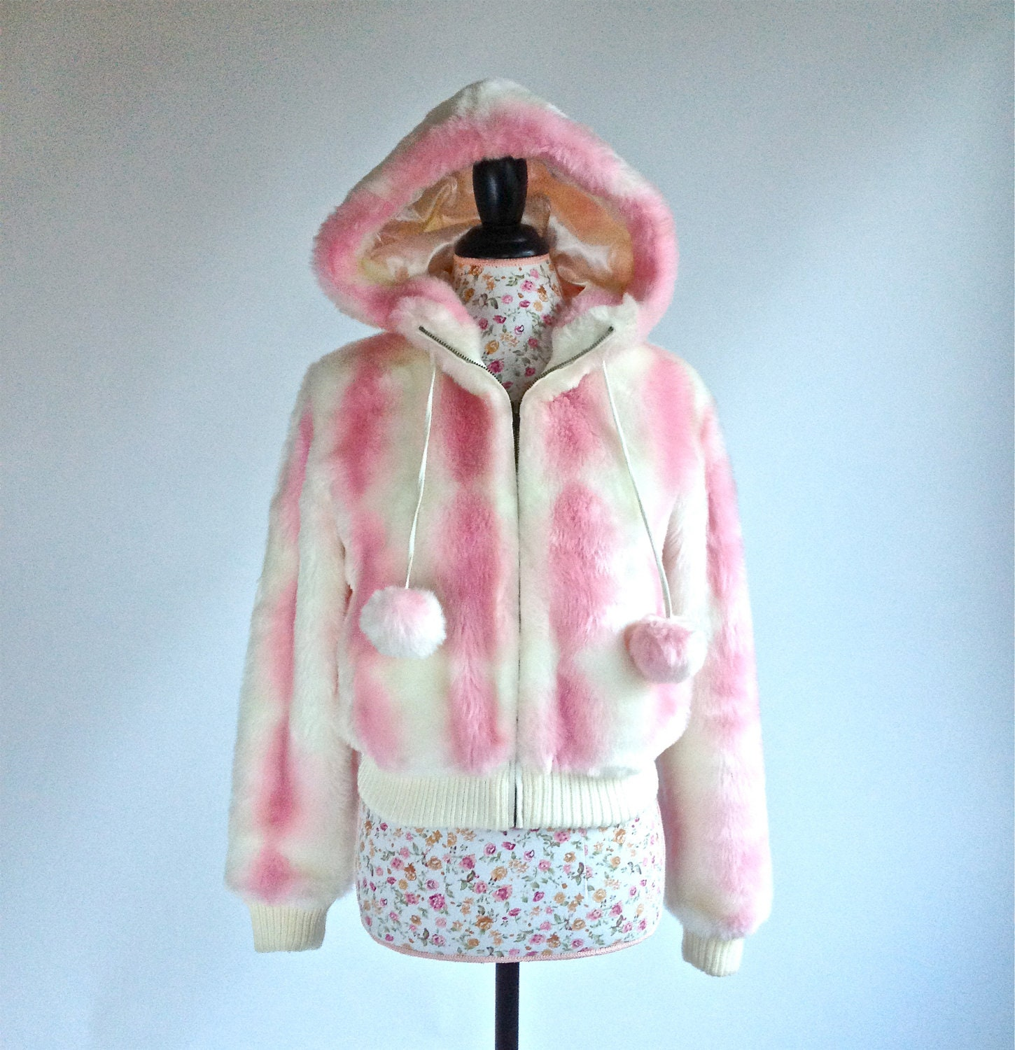 Fake Cotton Candy: 90's Cotton Candy Rave Faux Fur Cropped By FeelingVagueVintage