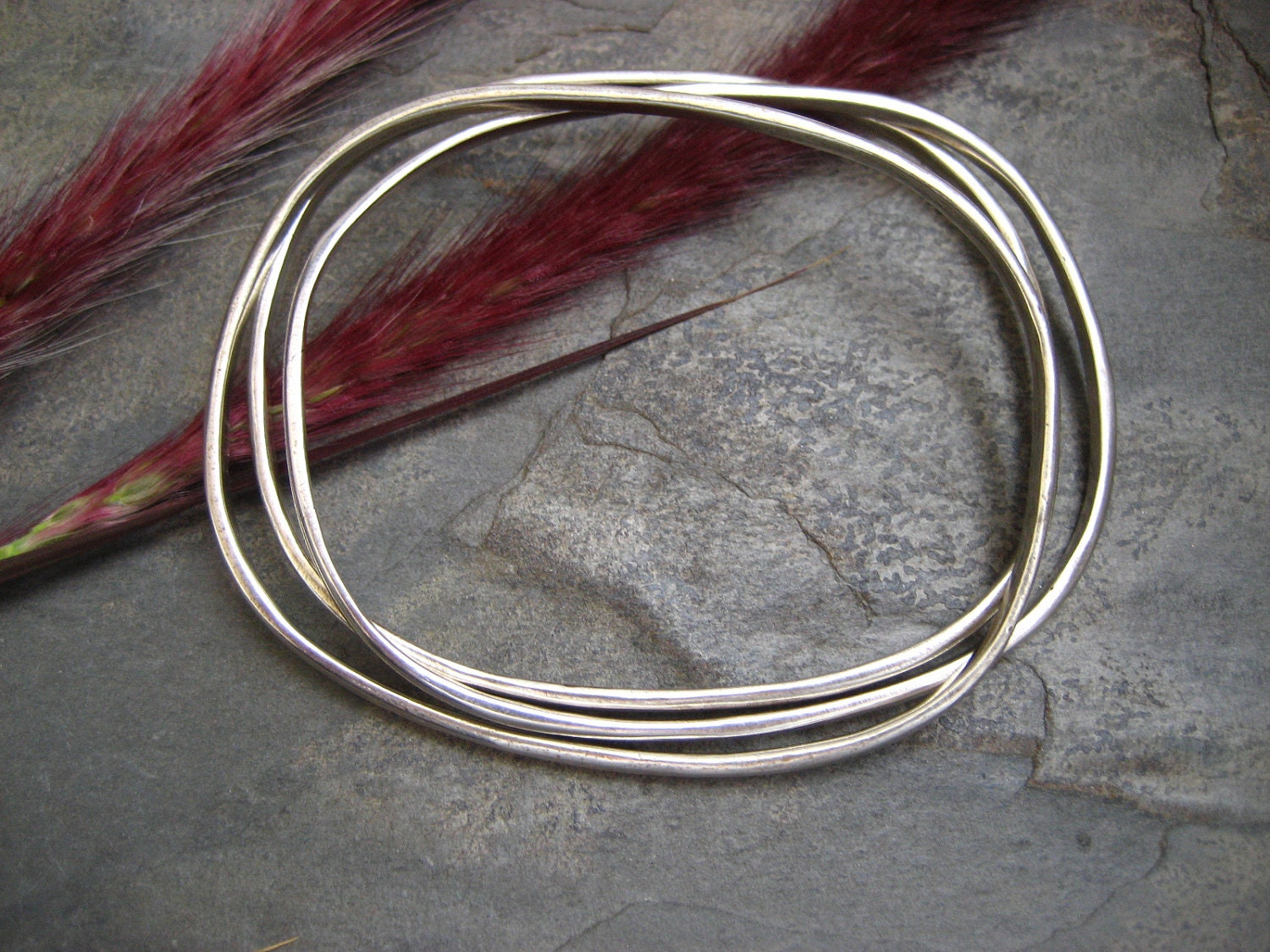 Oval silver bangles - sterling silver - heavy weight - set of 3 - ElfiRoose