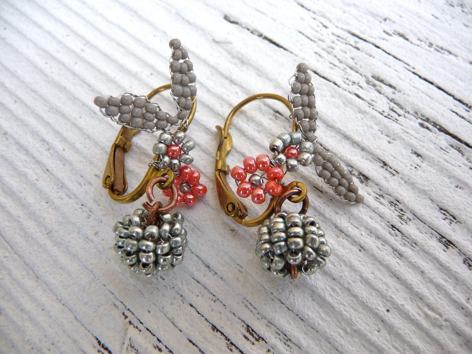 Fruits de la foret exquisite tiny Antique glass beads earrings