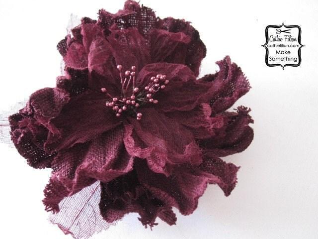 1 Большой - Постельное белье и марлевые Цветочный Wine Red - Шелк, Дамских, Измененные Couture, волос Цветы, Pin