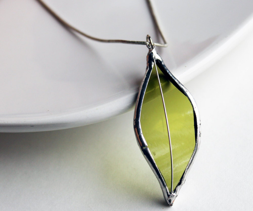 Stained Glass Jewelry Necklace - Re Purposed Wine Bottle - Light Green - LAGlass
