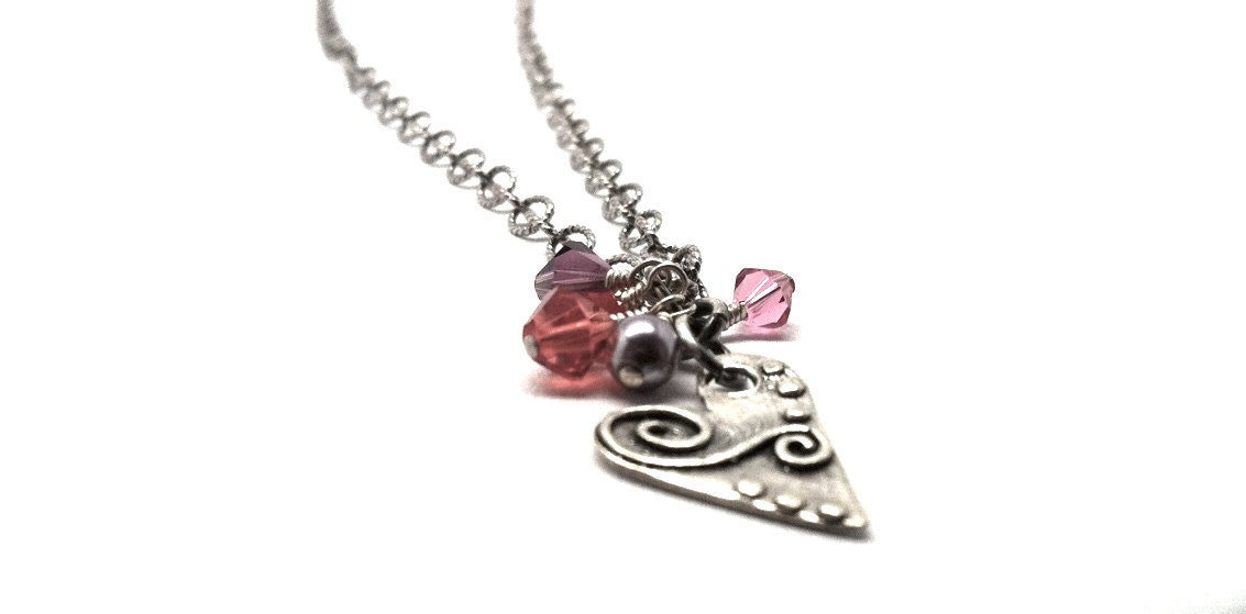 Necklace Long Heart Charm Handmade in Sterling Silver and Lilac, Amethyst, Red, Pink and Honeysuckle