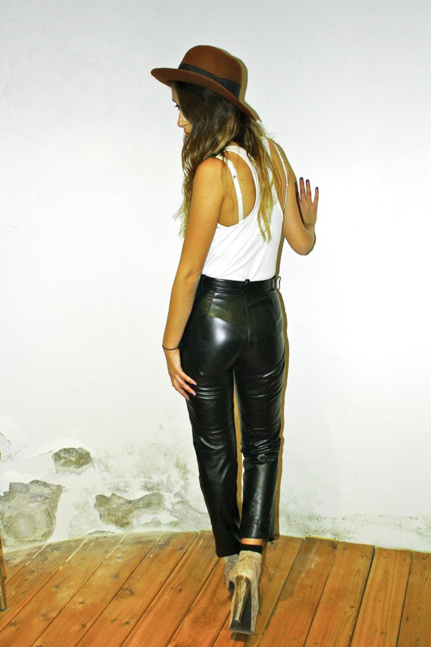 vintage high waisted leather pants with zippers