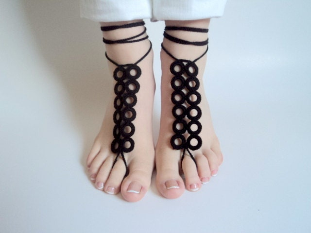 Barefoot sandles, Black  Barefoot sandals, Wedding beach party, crochet sandals, foot jewelry, yoga, leg decoration, anklet, hippie sandals - beyazdukkan