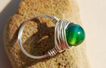 Tri- Colored Glass Wire Wrap Ring