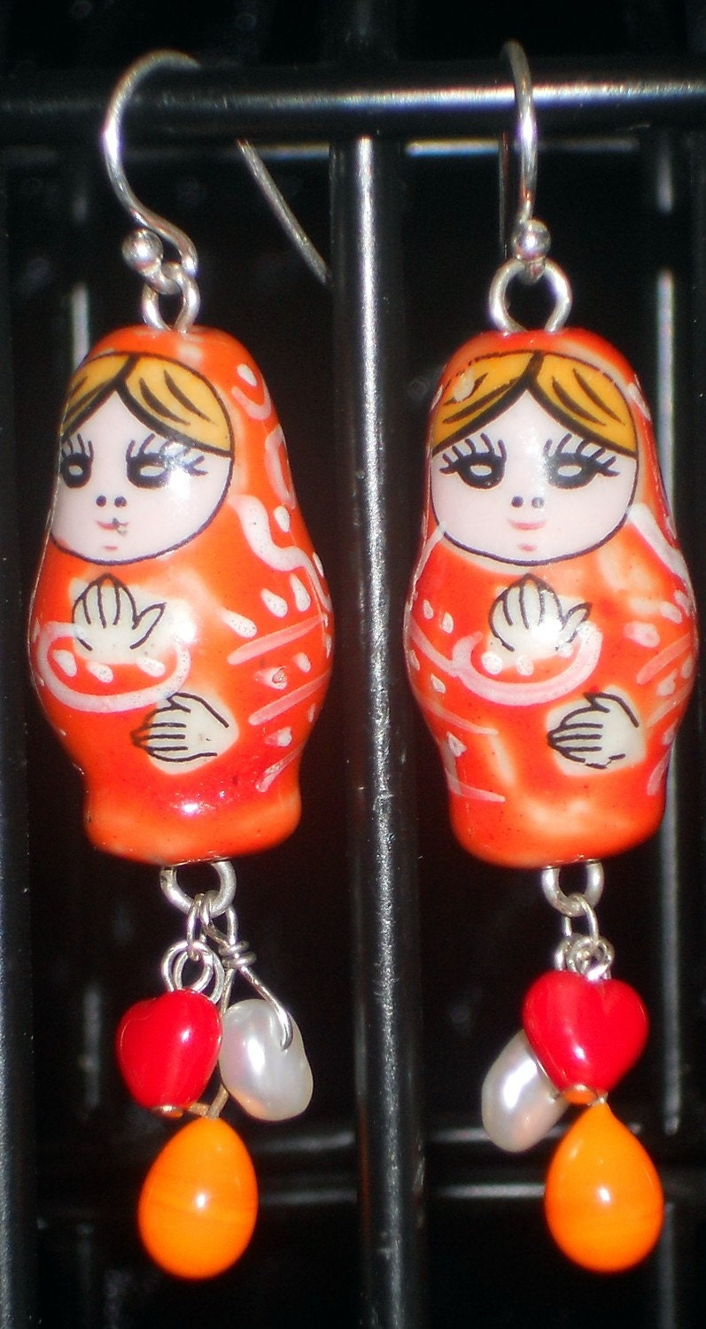 Matryoshka Doll Earrings - Red