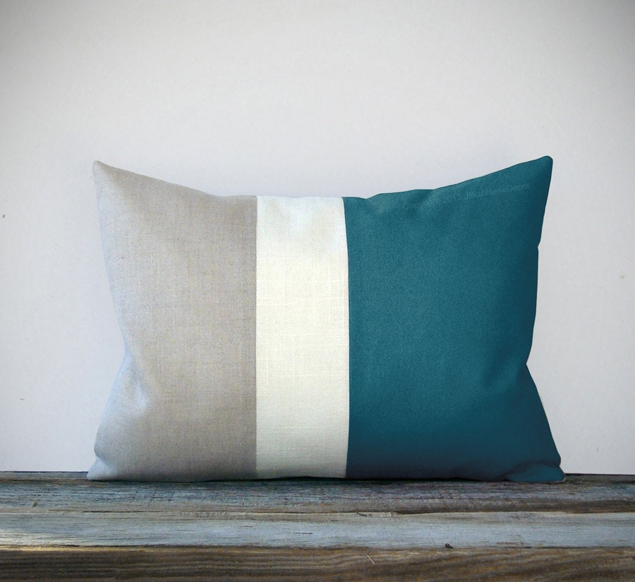 Teal Color Block Decorative Pillow with Cream and Natural Linen Stripes by JillianReneDecor - Summer Home Decor - Nautical Color-block - JillianReneDecor