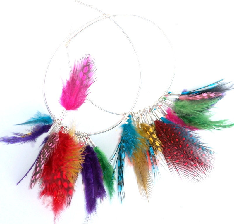 Rainbow Hoop Earrings,  Sterling Silver  hoops Colorful mini feathers  Boho Rainbow Earrings - Daniblu