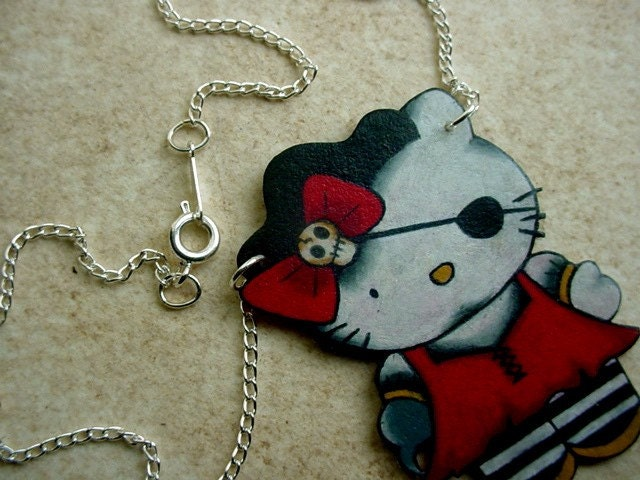 pirate kitty tattoo style necklace