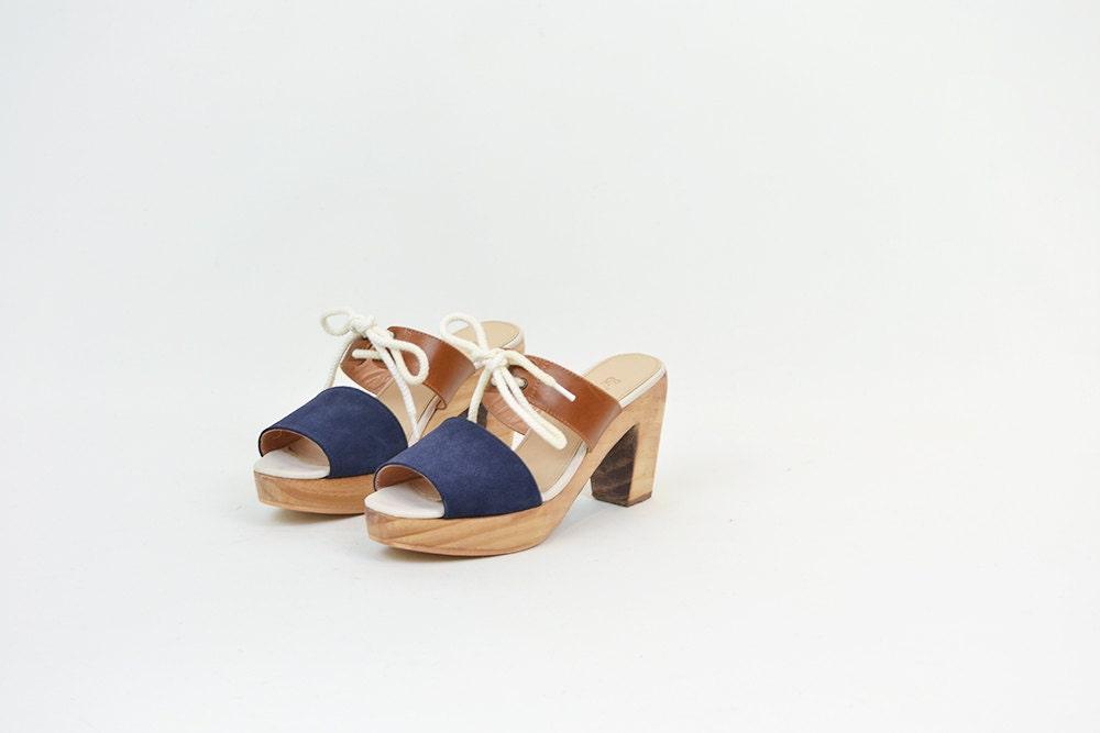 ON SALE << Handmade Wooden Sandal Heel - Tan Leather & Navy Nubuck - AndAttorney