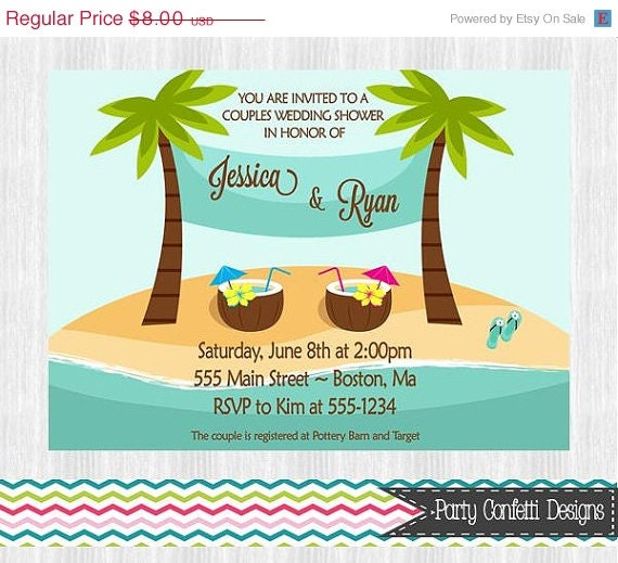 ON SALE Beach Bridal Shower Invitation