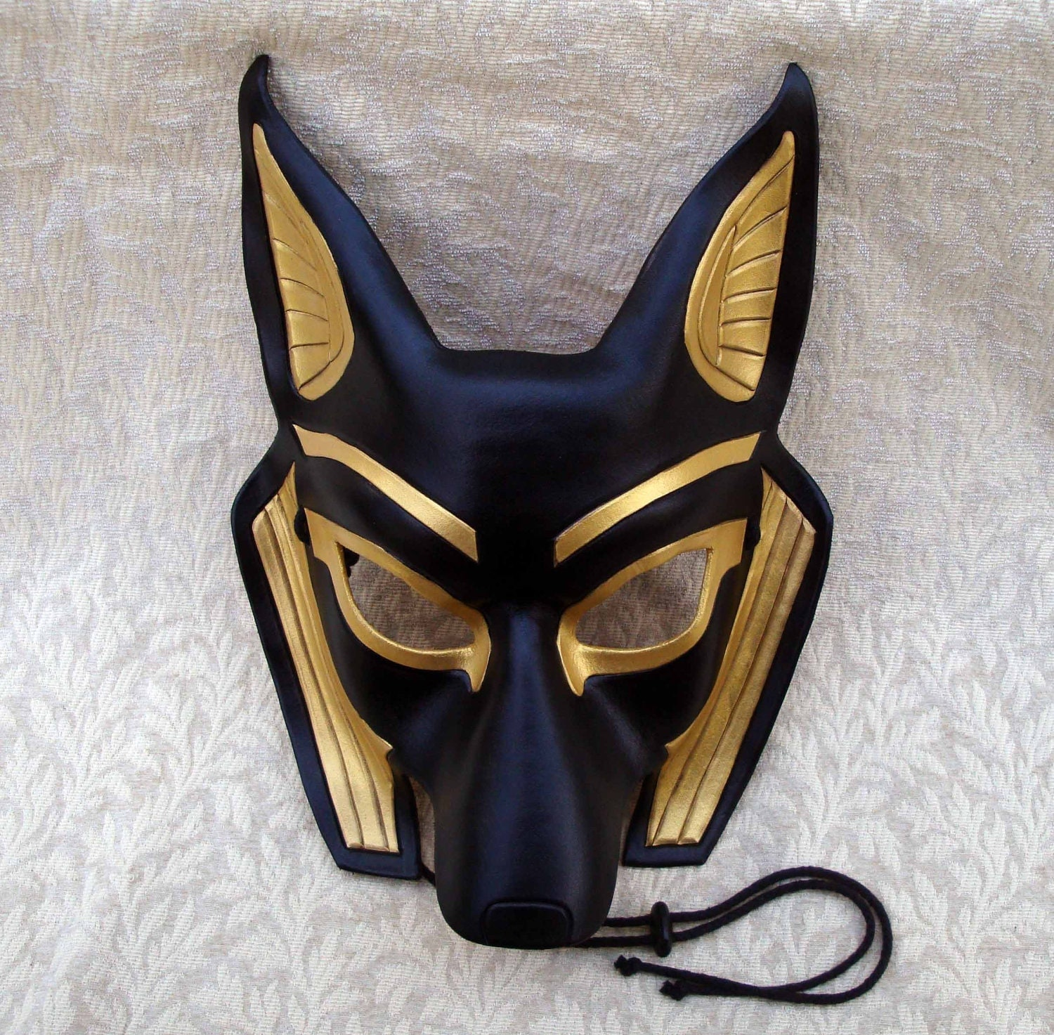 egyptian jackal mask anubis handmade leather mask by