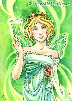 Absinthe green fairy ACEO limited edition print