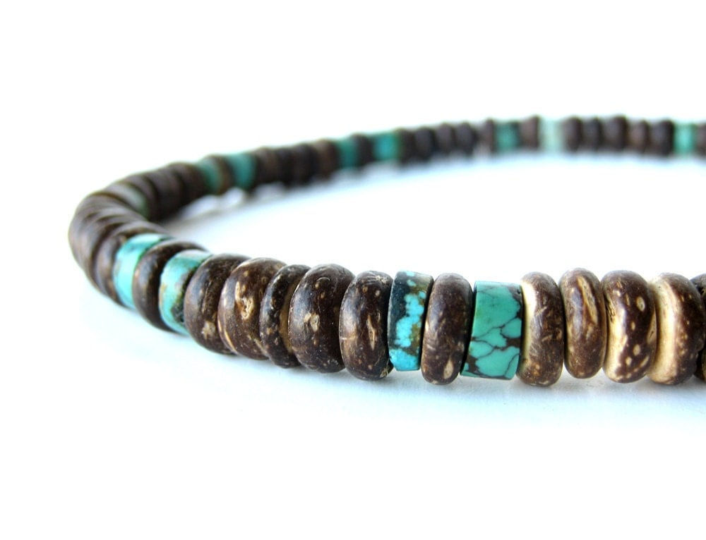Tribal men s jewelry - wood necklace for men - Tribal Turquoise Tribal Bracelets For Men