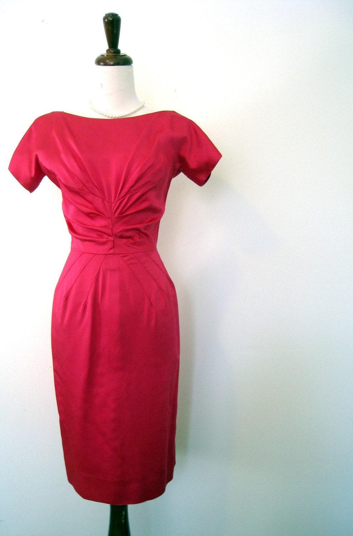 vintage 50's La Vie en Rose Valentine's Wiggle Dress