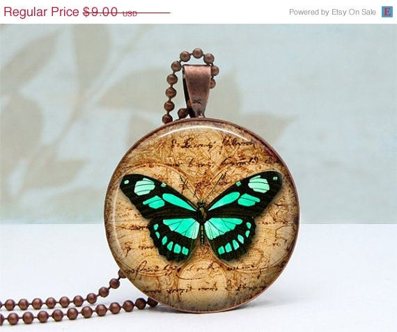 SALE Turquoise Butterlfy Pendant Glass Dome Art Pendant Vintage Copper Picture Pendant Photo Pendant Wearable Art Jewelry by Lizabettas
