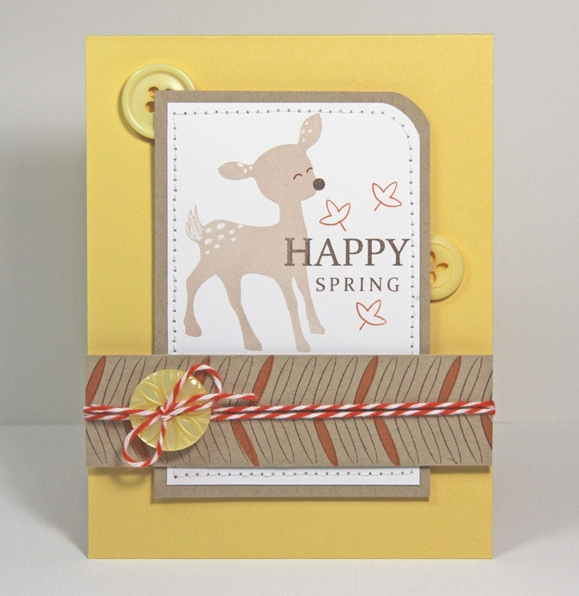 Cute fawn happy spring card