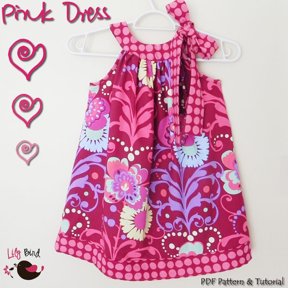 Pink Dress - 12M to 8T - PDF Pattern and Instructions