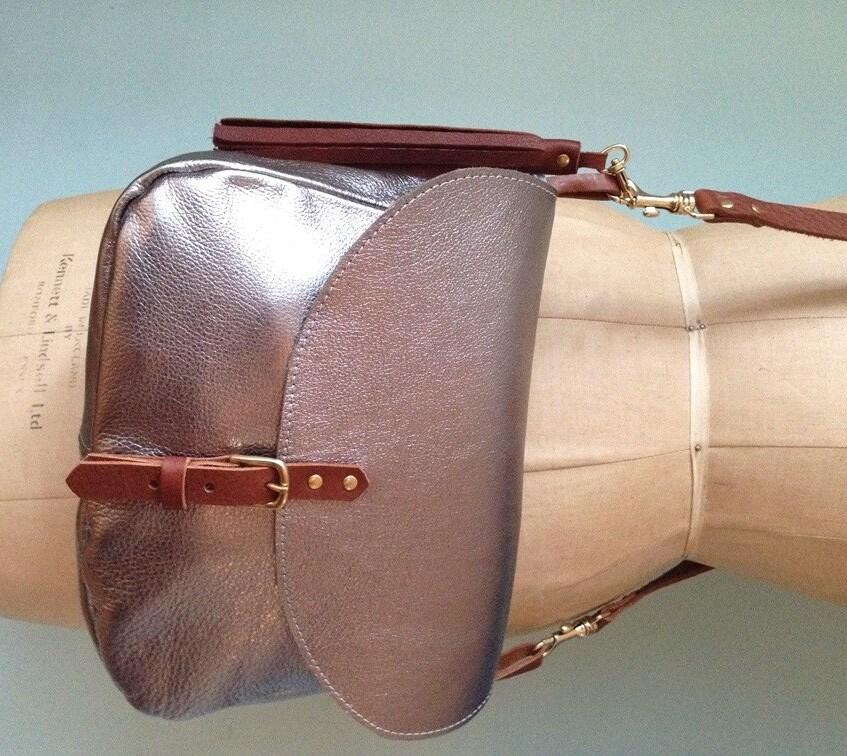 Pewter leather handbag leather saddlebag silver crossbody bag leather handbag