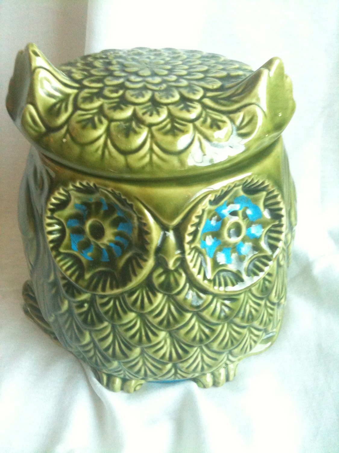 Vintage Kitchen Kitsch Avocado Green Owl Ceramic Large By Caryndee