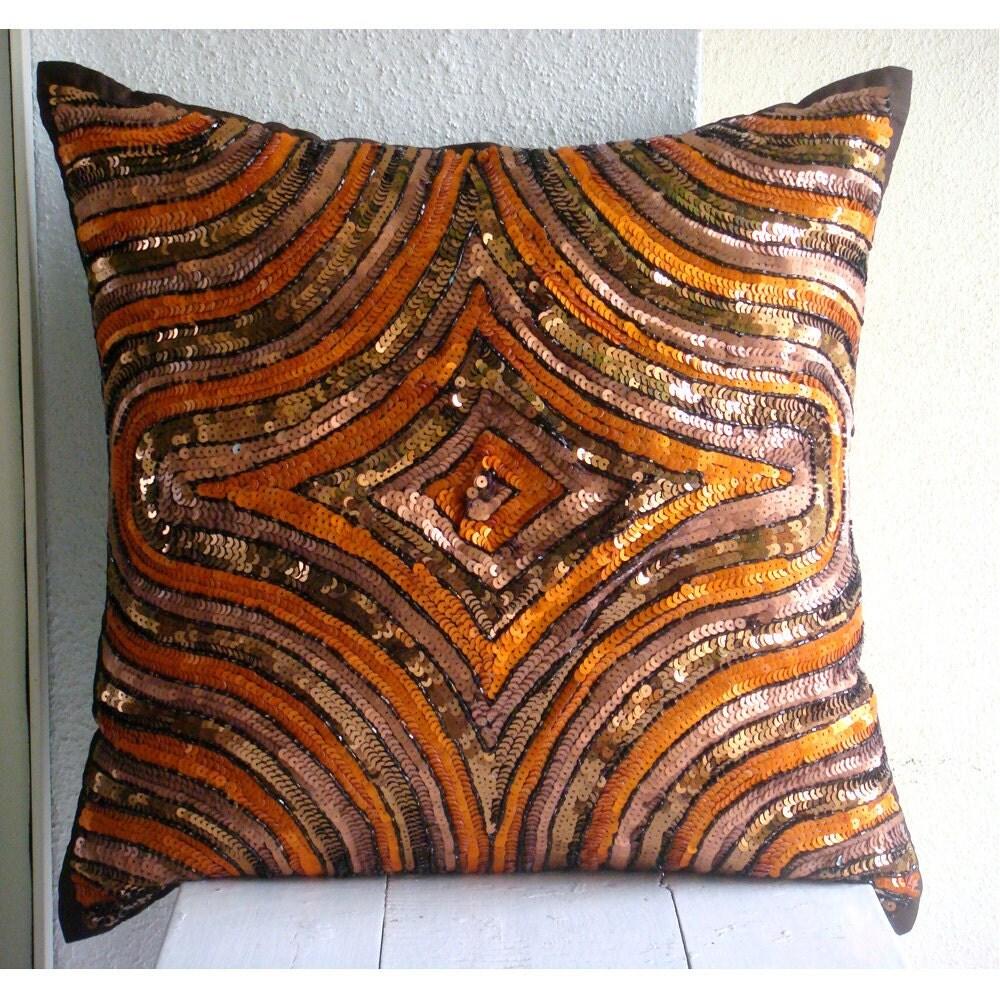 Оранжевый Illusion - Бросьте наволочки - 16х16 дюймов Шелковый Чехол с вышивкой пайетками