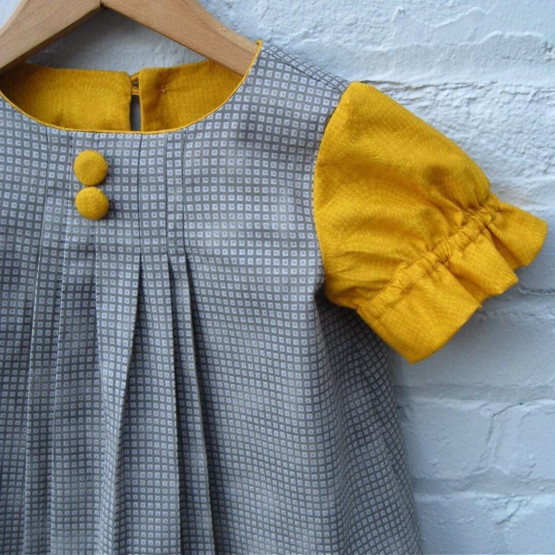 girls handmade custom dress / Audrey in the autumn mustard and gray