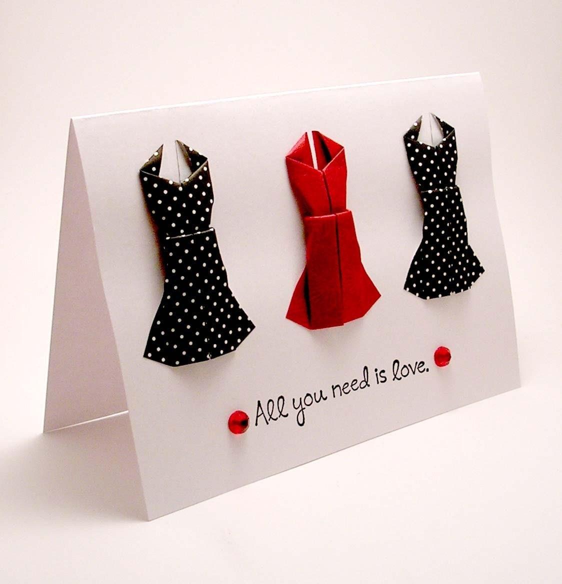 Открытка в виде платья как сделать