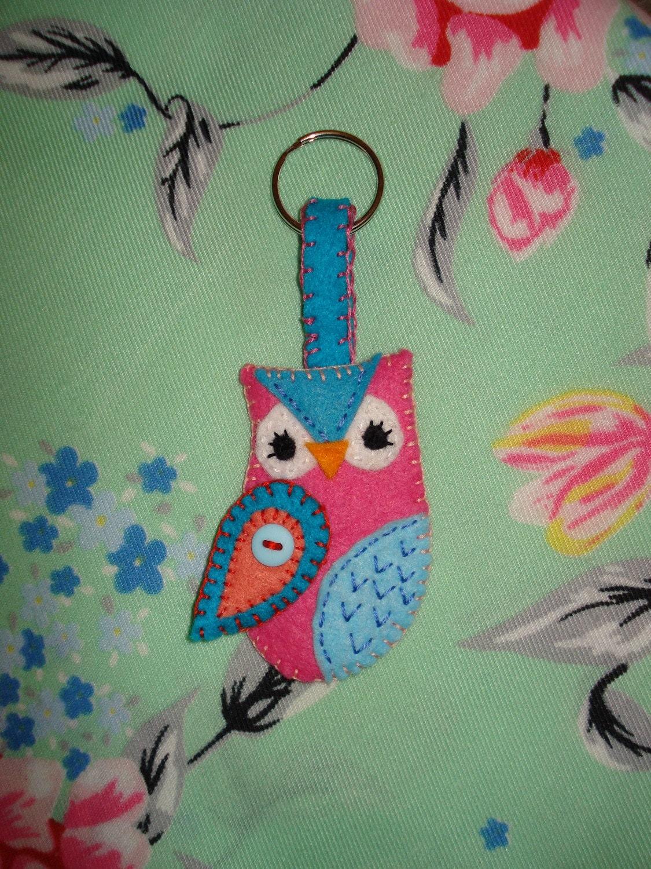 Handmade Felt Owl keyring