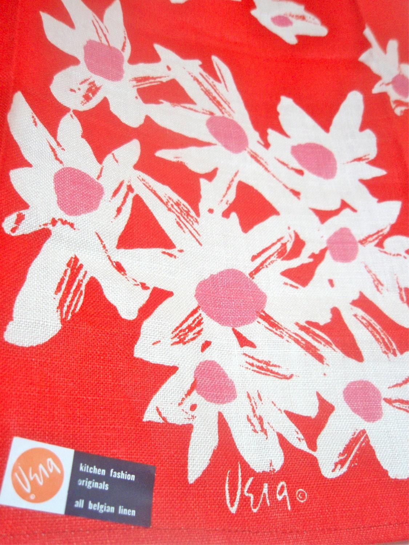 Mod Daisy - a vintage 1960's Vera Neumann Lucky Ladybug Hand-Painted Tea Towel - Belgian Linen - MINT - mountainheirlooms