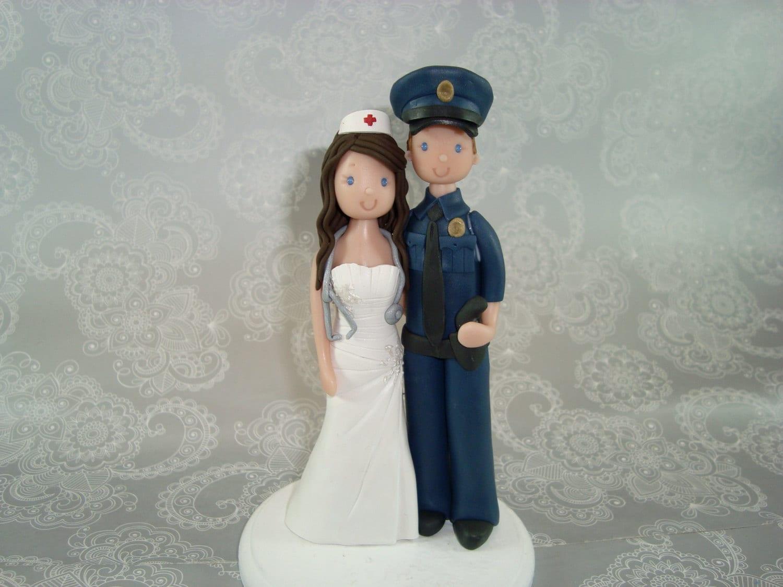 Police Officer Amp Nurse Custom Wedding Cake Topper By Mudcards