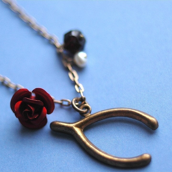 Wish For Love necklace - brass wishbone garnet pearl vintage rose
