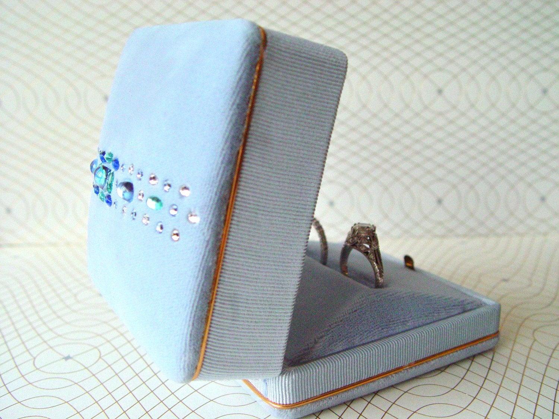 Seafoam Splendor - Ring Pillow Box vintage blue, aqua, periwinkle Swarovski crystal