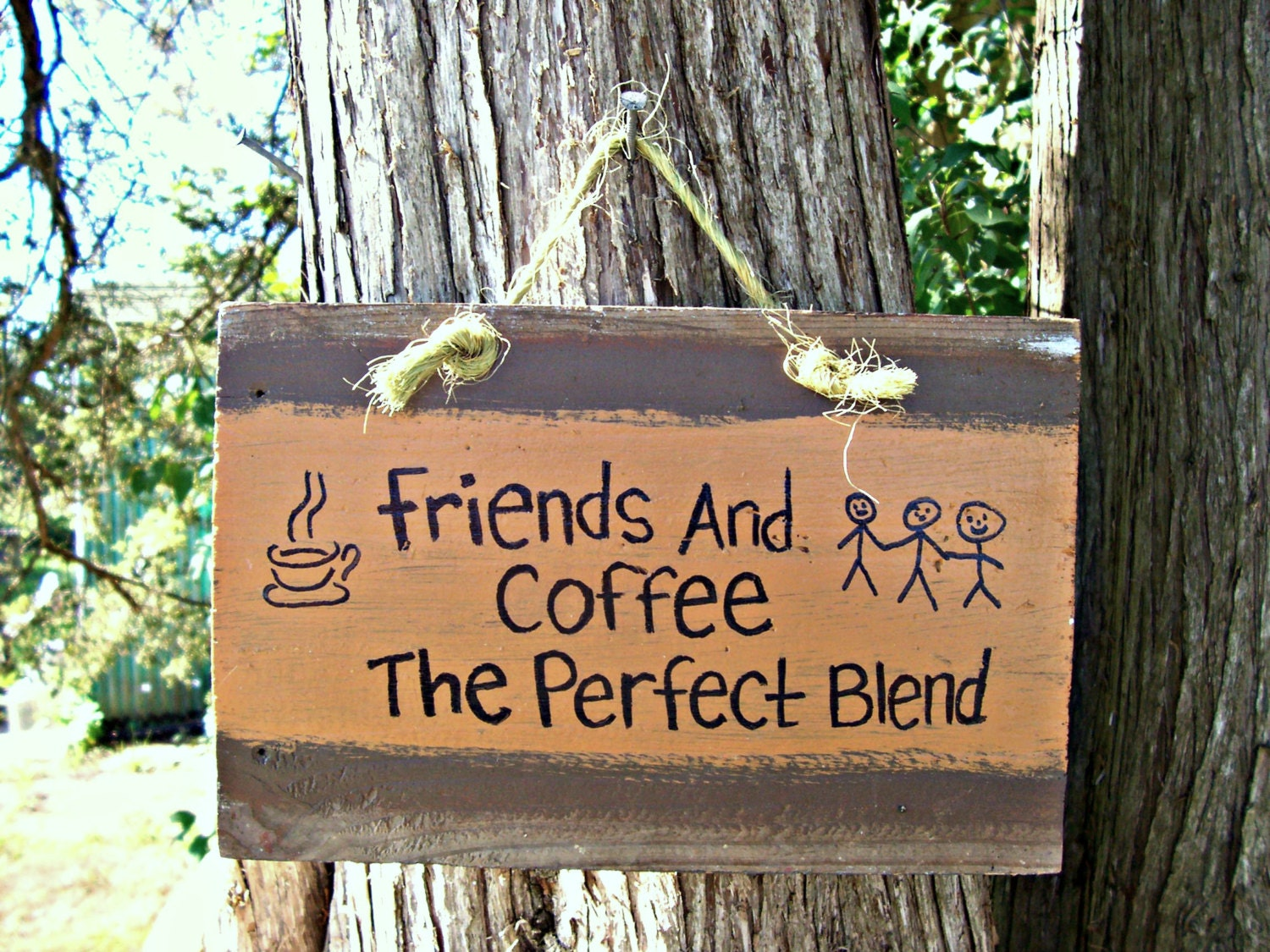 Reclaimed FRIENDS and COFFEE Wood Sign Hand Painted Kitchen Restaurant Home Wall Sign CAFE Country Rustic Home Decor Gift Present idea - JunkWorksEtc